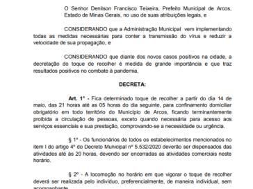 Novo Decreto aplica  novamente toque de recolher, após aumento de casos.